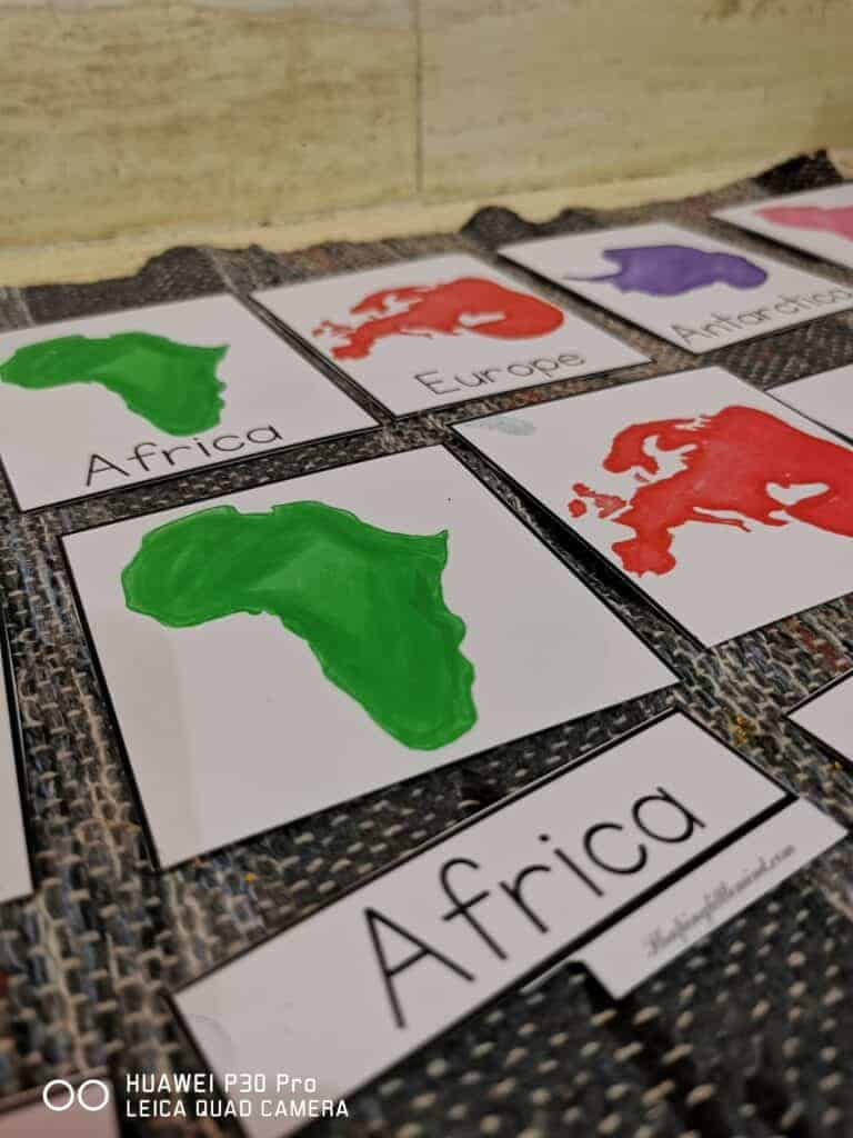 Montessori continents 3 part cards free printable