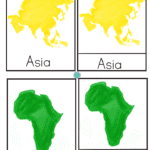 Montessori Geography continents 3 part cards