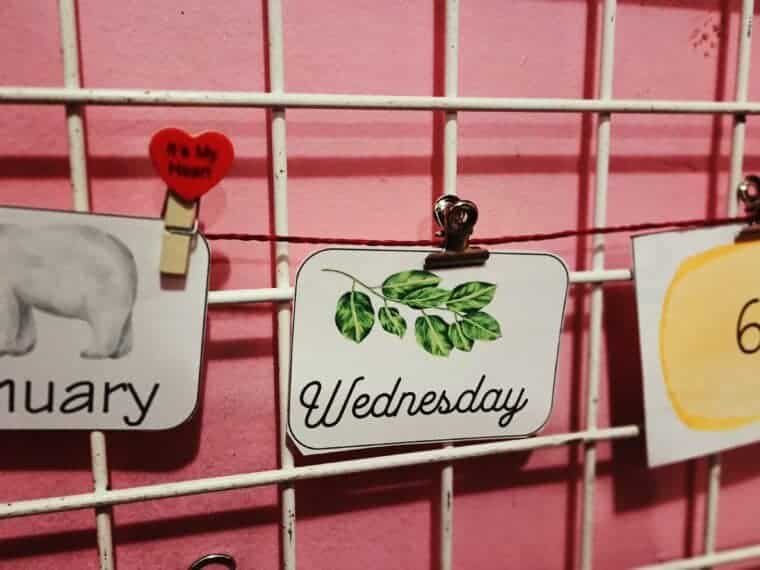 weekdays printable